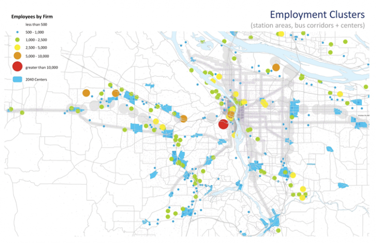 Figure 8: Distribution of jobs relative to transit communities and designated centers