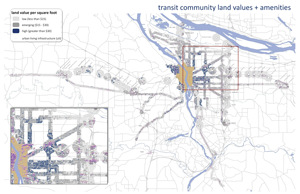 Figure 5: Land values and amenities in transit communities